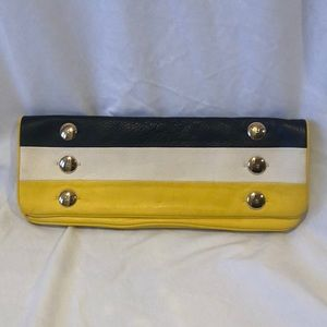 Kate Spade yellow white and navy clutch